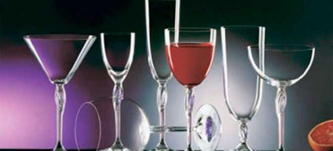 Виды бокалов в баре и их названия